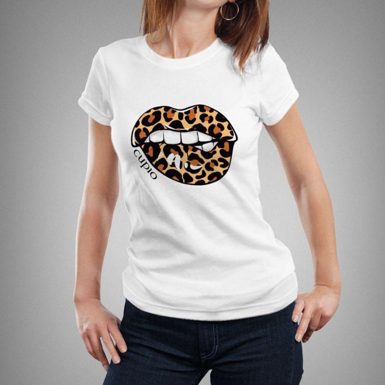 Cupio Weißes T-Shirt Animal-Print